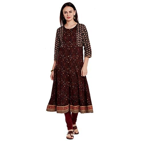 Maroon Floral Printed Cotton Kurti