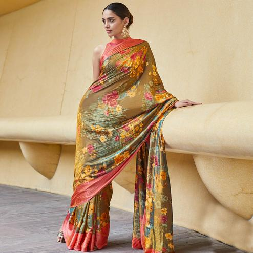 Majesty Light Brown Colored Casual Wear Floral Printed Art Silk Saree