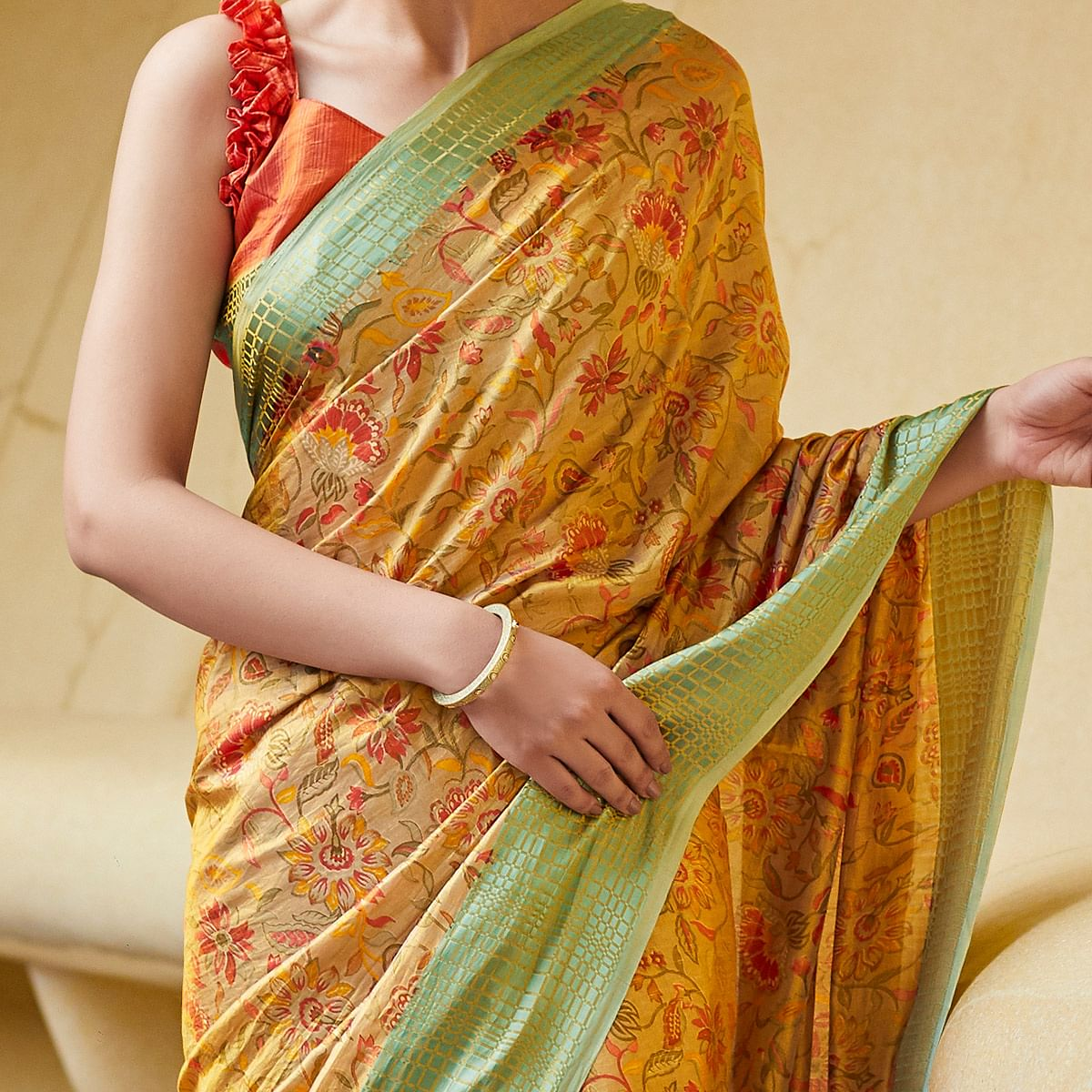 Impressive Mustard Yellow Colored Casual Wear Floral Printed Art Silk Saree