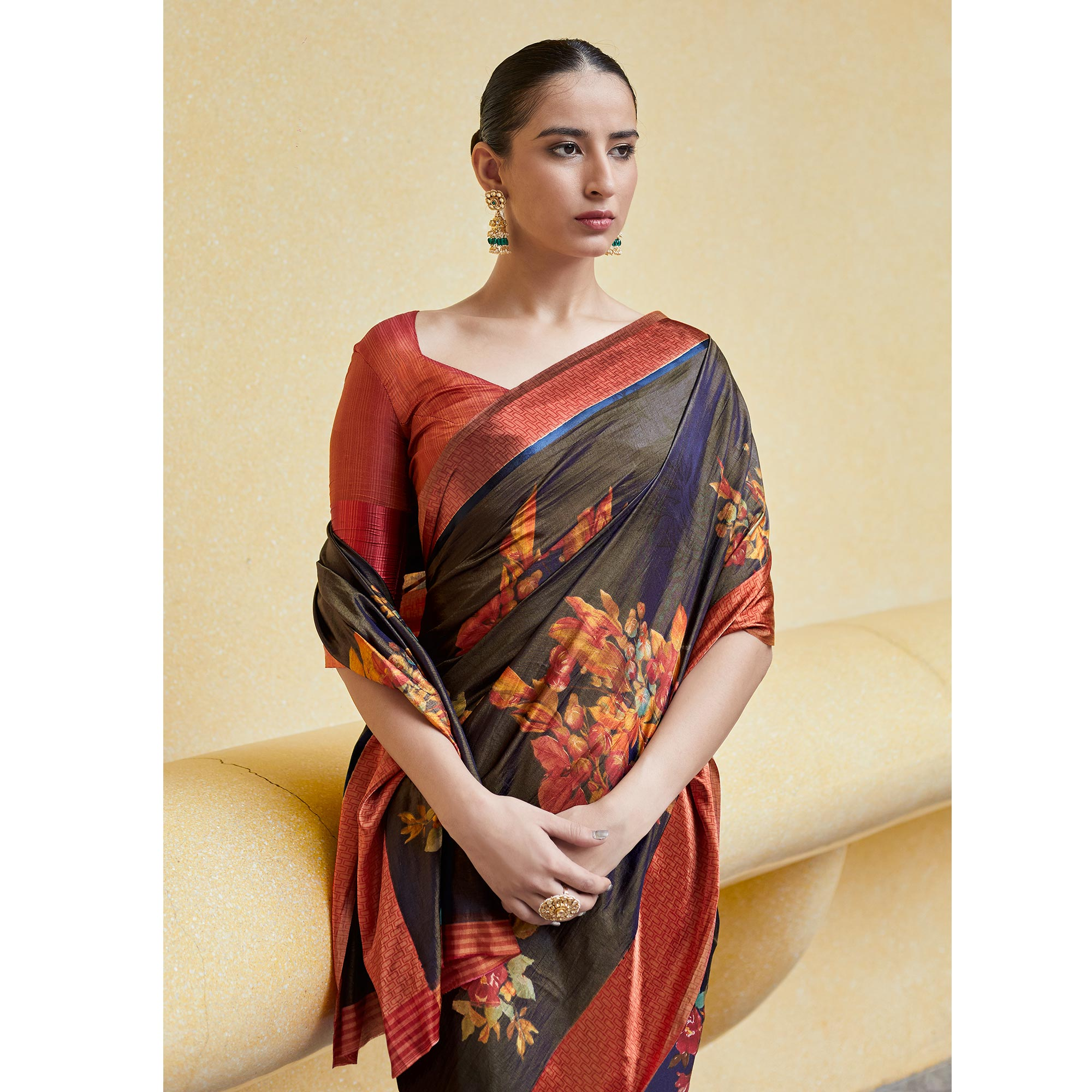 Mesmerising Navy Blue Colored Casual Wear Floral Printed Art Silk Saree