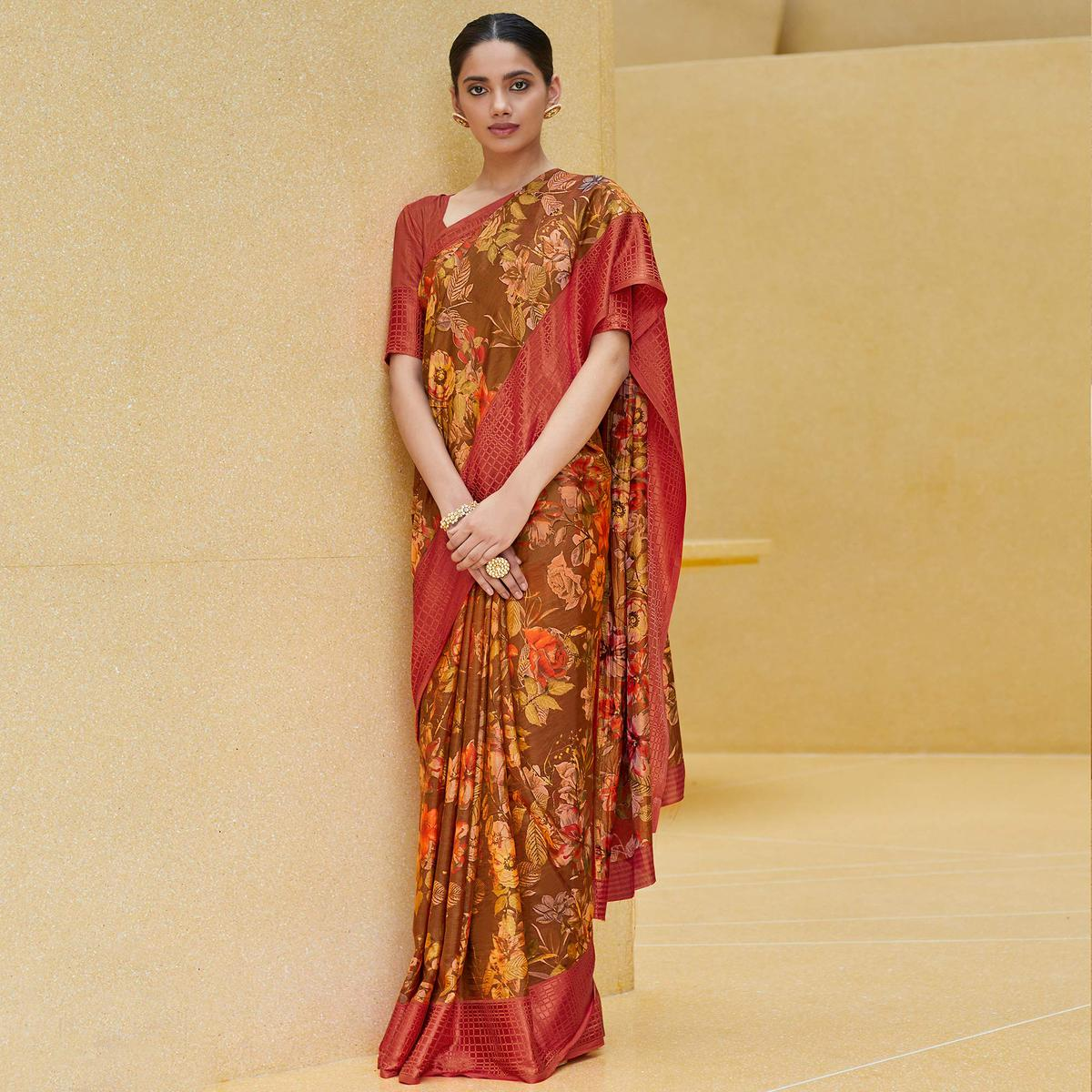 Pleasance Brown Colored Casual Wear Floral Printed Art Silk Saree