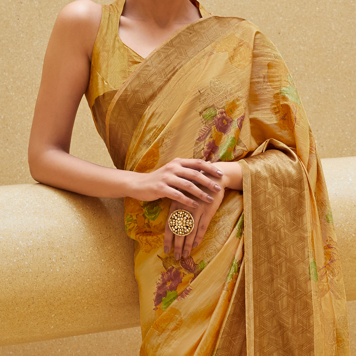 Breathtaking Beige Colored Casual Wear Floral Printed Art Silk Saree