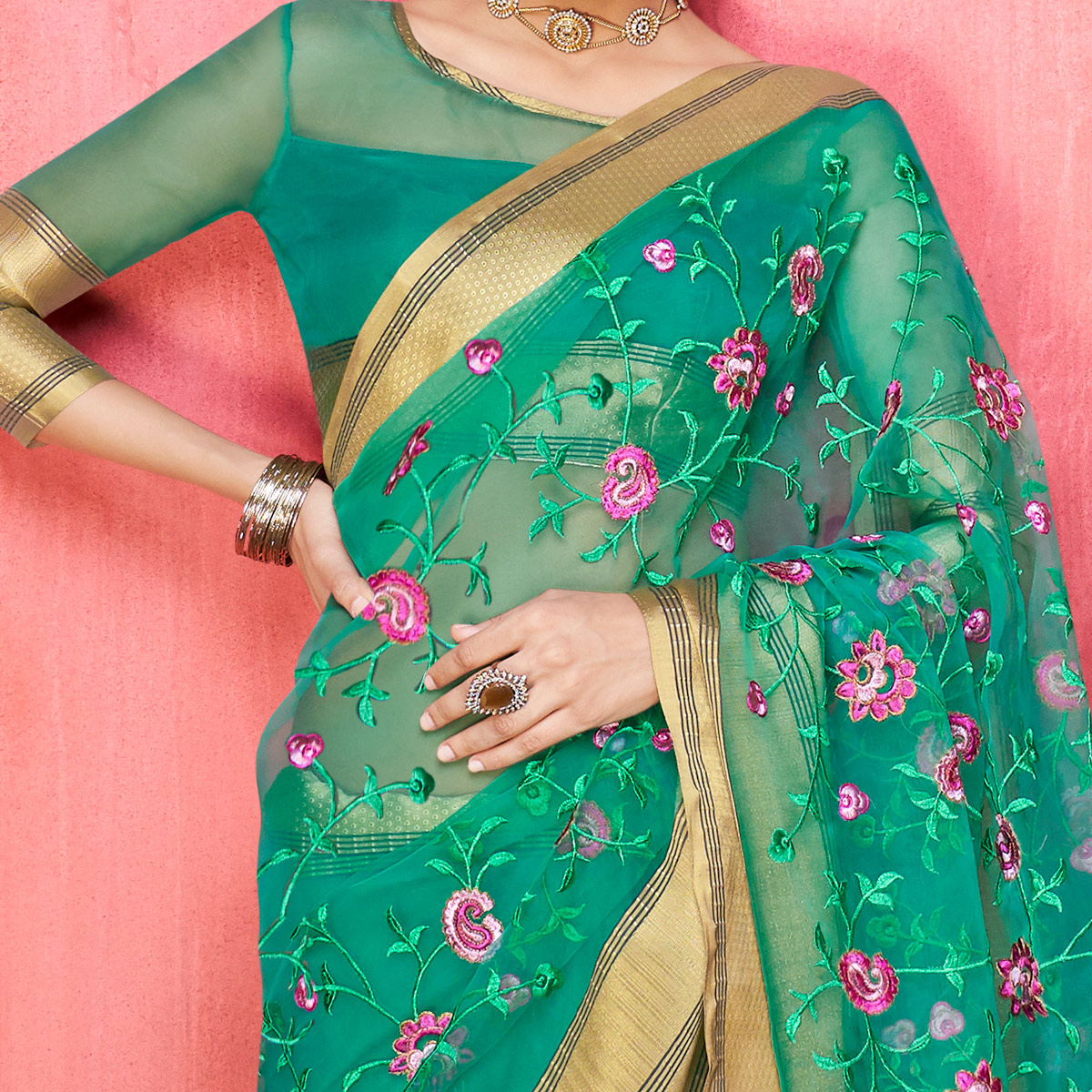 Adorning Green Colored Party Wear Floral Embroidered Organza Saree