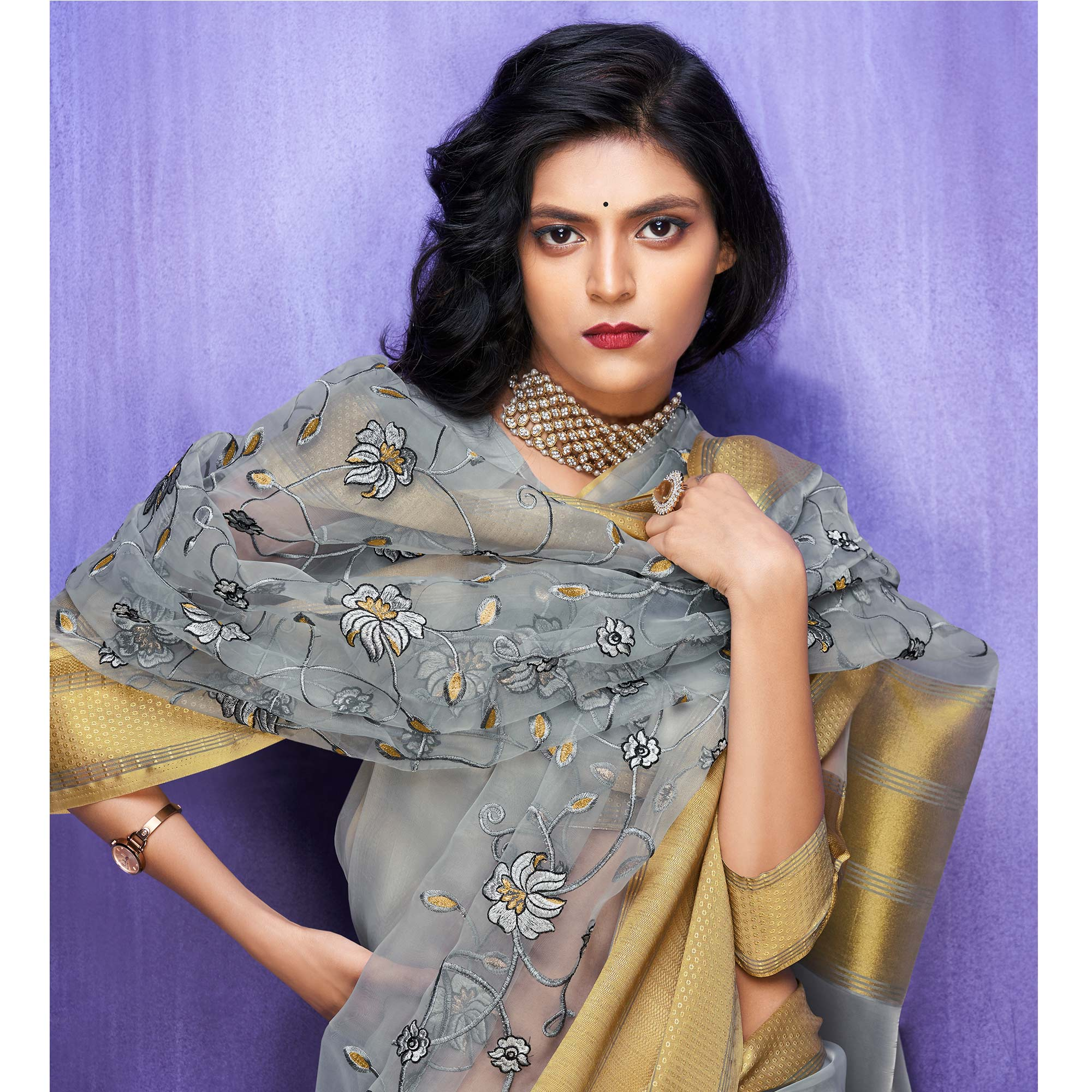 Exclusive Grey Colored Party Wear Floral Embroidered Organza Saree