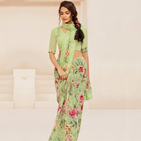 Pleasant Green Colored Casual Wear Floral Printed Georgette Saree