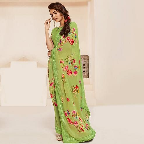Opulent Green Colored Casual Wear Floral Printed Georgette Saree