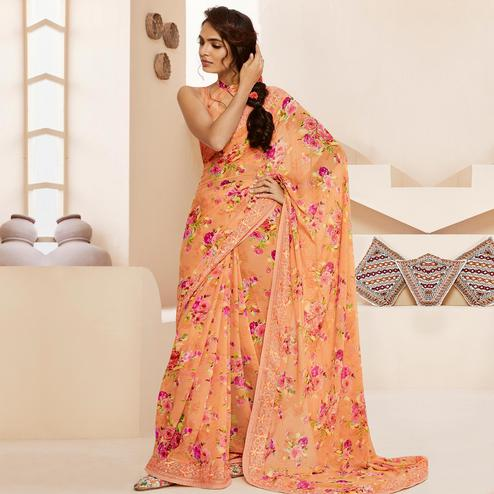 Exceptional Orange Colored Casual Wear Floral Printed Georgette Saree