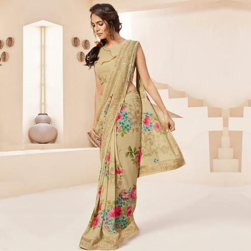 Refreshing Beige Colored Casual Wear Floral Printed Georgette Saree