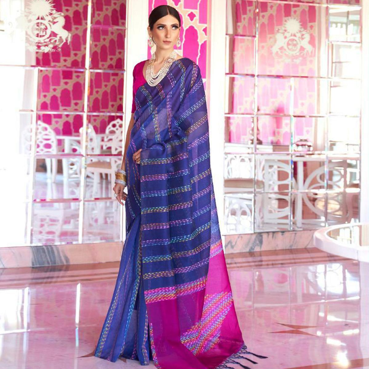 Charming Navy Blue Colored Party Wear Embroidered Silk Saree With Tassels