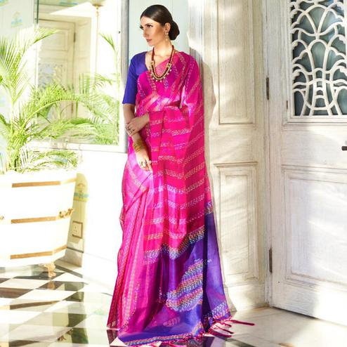 Captivating Pink Colored Party Wear Embroidered Silk Saree With Tassels