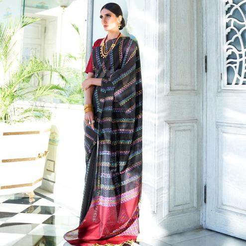 Amazing Black Colored Party Wear Embroidered Silk Saree With Tassels