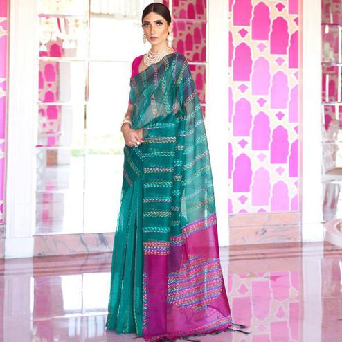 Blissful Rama Green Colored Party Wear Embroidered Silk Saree With Tassels