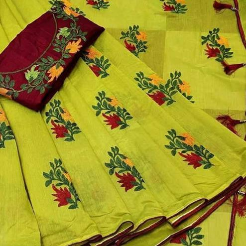 Flamboyant Green Colored Partywear Embroidered Chanderi Cotton Saree