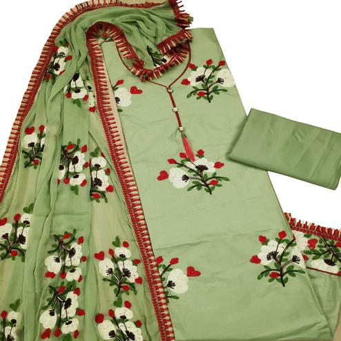 Sensational Green Colored Partywear Embroidered Cotton Dress Material