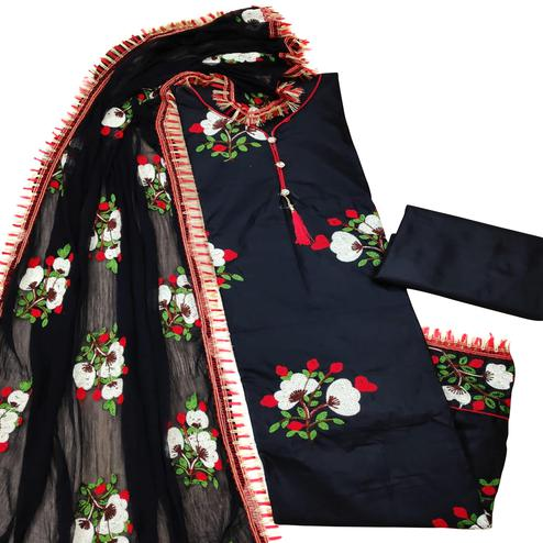 Flaunt Black Colored Partywear Embroidered Cotton Dress Material