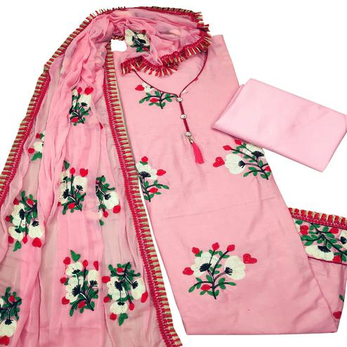 Flirty Pink Colored Partywear Embroidered Cotton Dress Material
