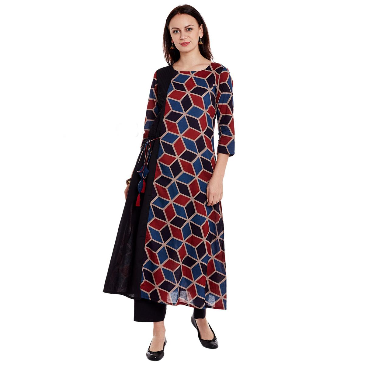 Trendy Black Printed Cotton Kurti