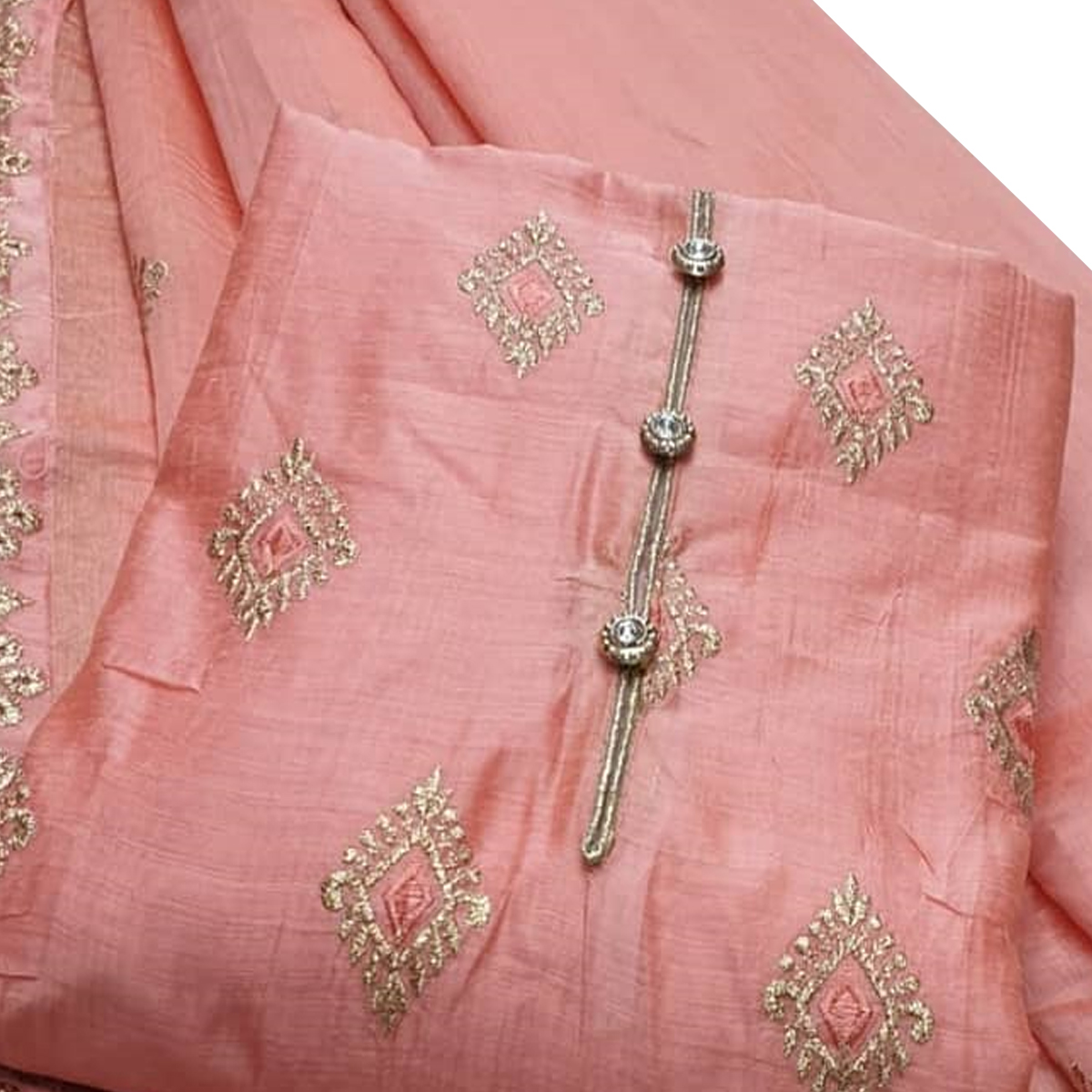 Ethnic Peach Colored Festive Wear Woven Chanderi Cotton Dress Material