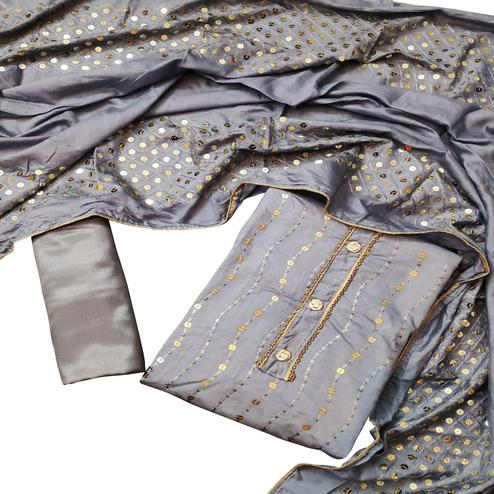 Lovely Grey Colored Partywear Embroidered Chanderi Cotton Dress Material