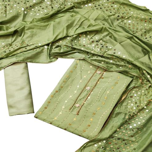 Impressive Green Colored Partywear Embroidered Chanderi Cotton Dress Material