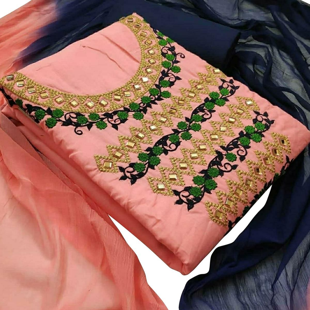 Classy Peach Colored Partywear Embroidered Cotton Dress Material