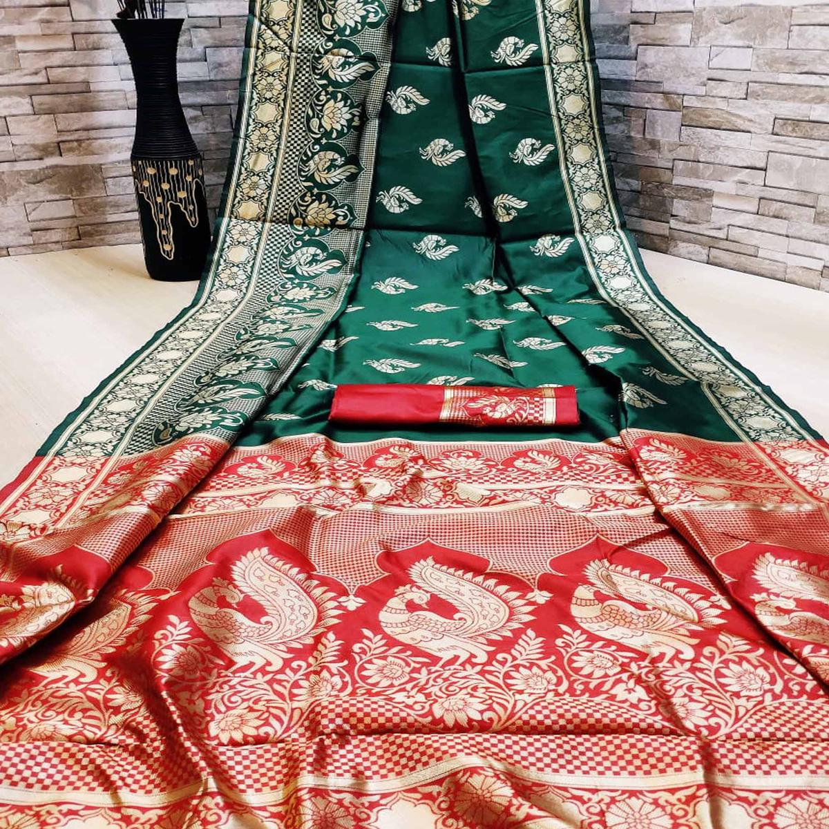 Trendy Dark Green Colored Festive Wear Woven Heavy Banarasi Saree