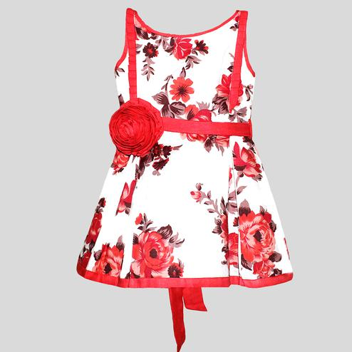 PWN Arresting Red Colored Casual Wear Floral Printed Cotton Dress