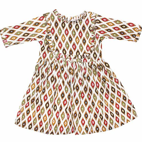 PWN Exotic White-Multi Colored Casual Wear Ikta Printed Cotton Jute Dress