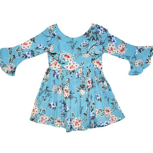 PWN Trendy Blue Colored Casual Wear Ruffled Floral Printed Cotton Dress