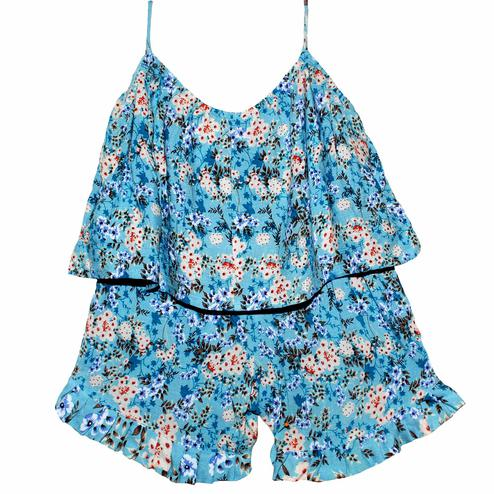 PWN Elegant Blue Colored Casual Wear Floral Printed Cotton Jumpsuit