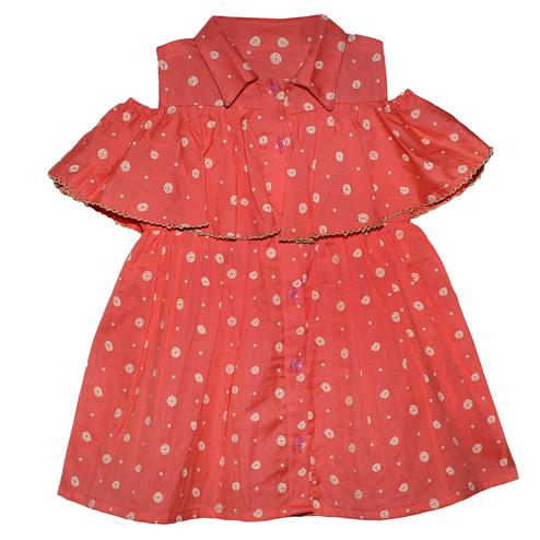 PWN Glowing Red Colored Casual Wear Cold Shoulder Printed Cotton Jute Frock