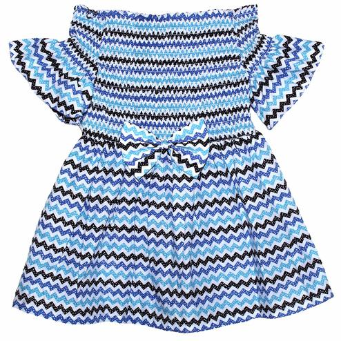 PWN Mesmeric Blue Colored Casual Wear Smocked Zig Zag Printed Off Shoulder Cotton Dress