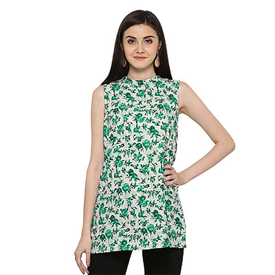 Green Floral Printed Casual Wear Crape Top