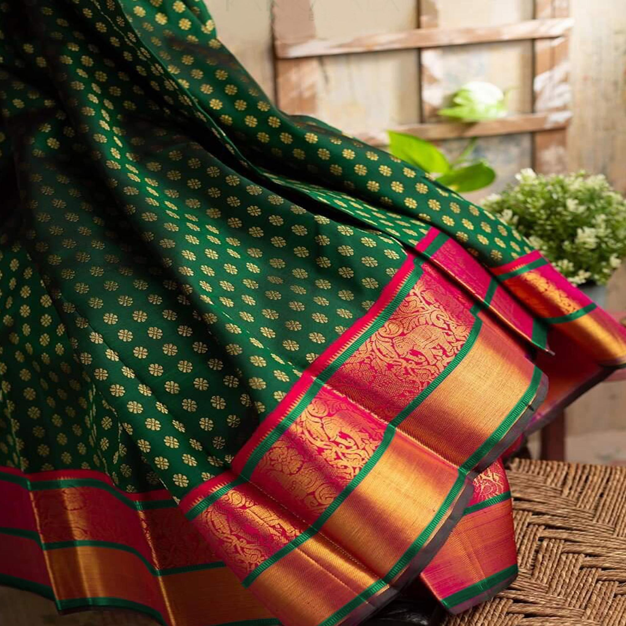 Energetic Green Colored Festive Wear Woven Nylon Lichi Silk Saree