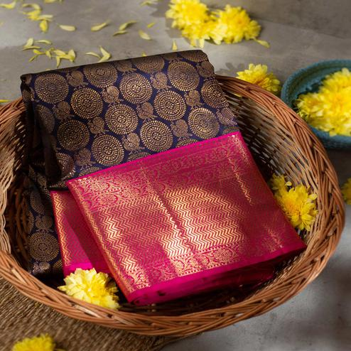 Glowing Navy Blue Colored Fetive Wear Woven Kanchipuram Silk Saree