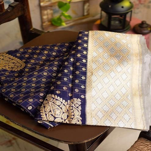 Refreshing Navy Blue Colored Festive Woven Heavy Nylon Banarasi Silk Saree