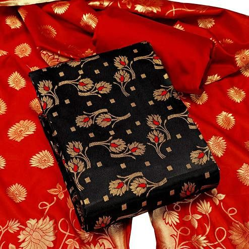 IRIS - Black Colored Festive Wear Banarasi Jacquard Dress Material
