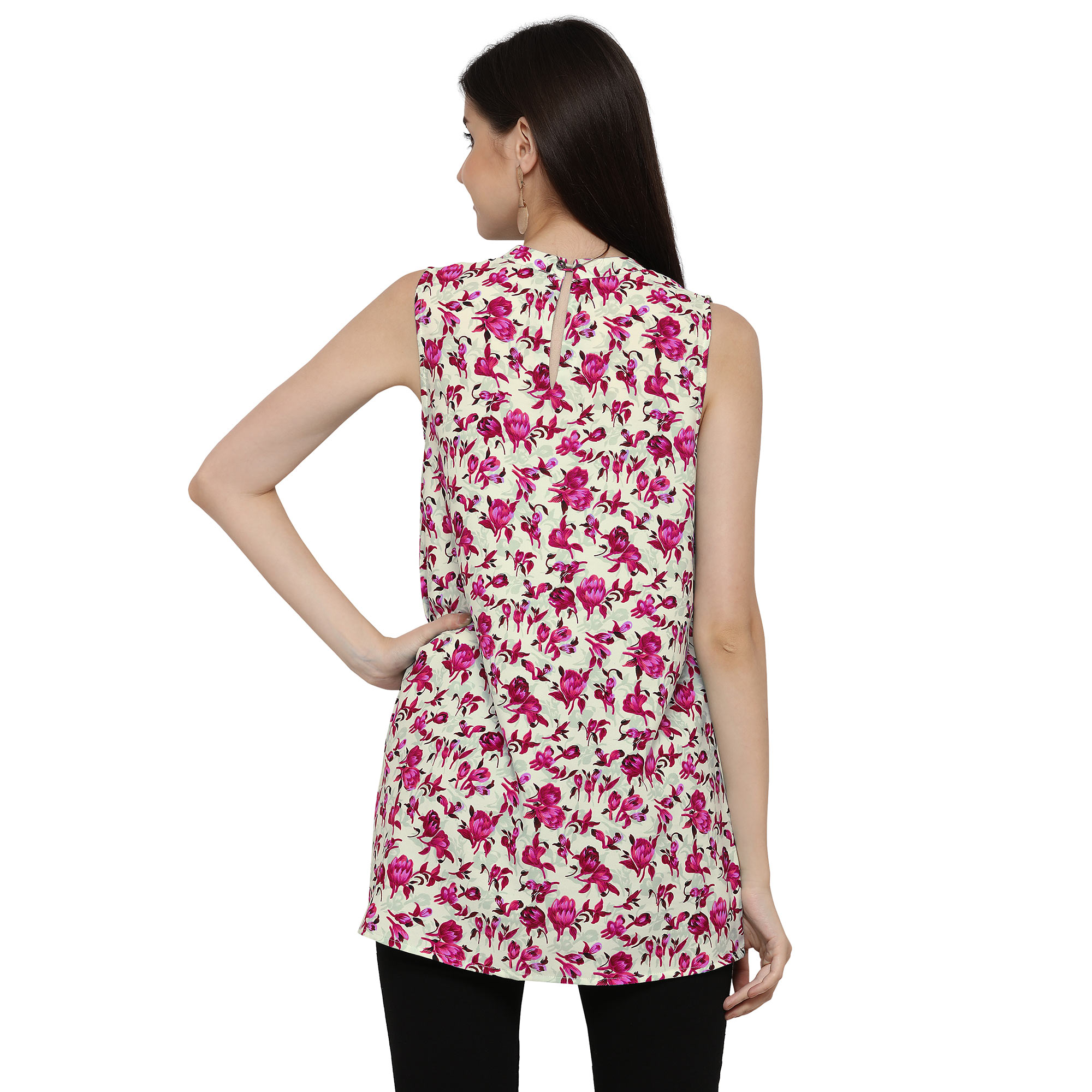 Pink Floral Printed Casual Wear Crape Top