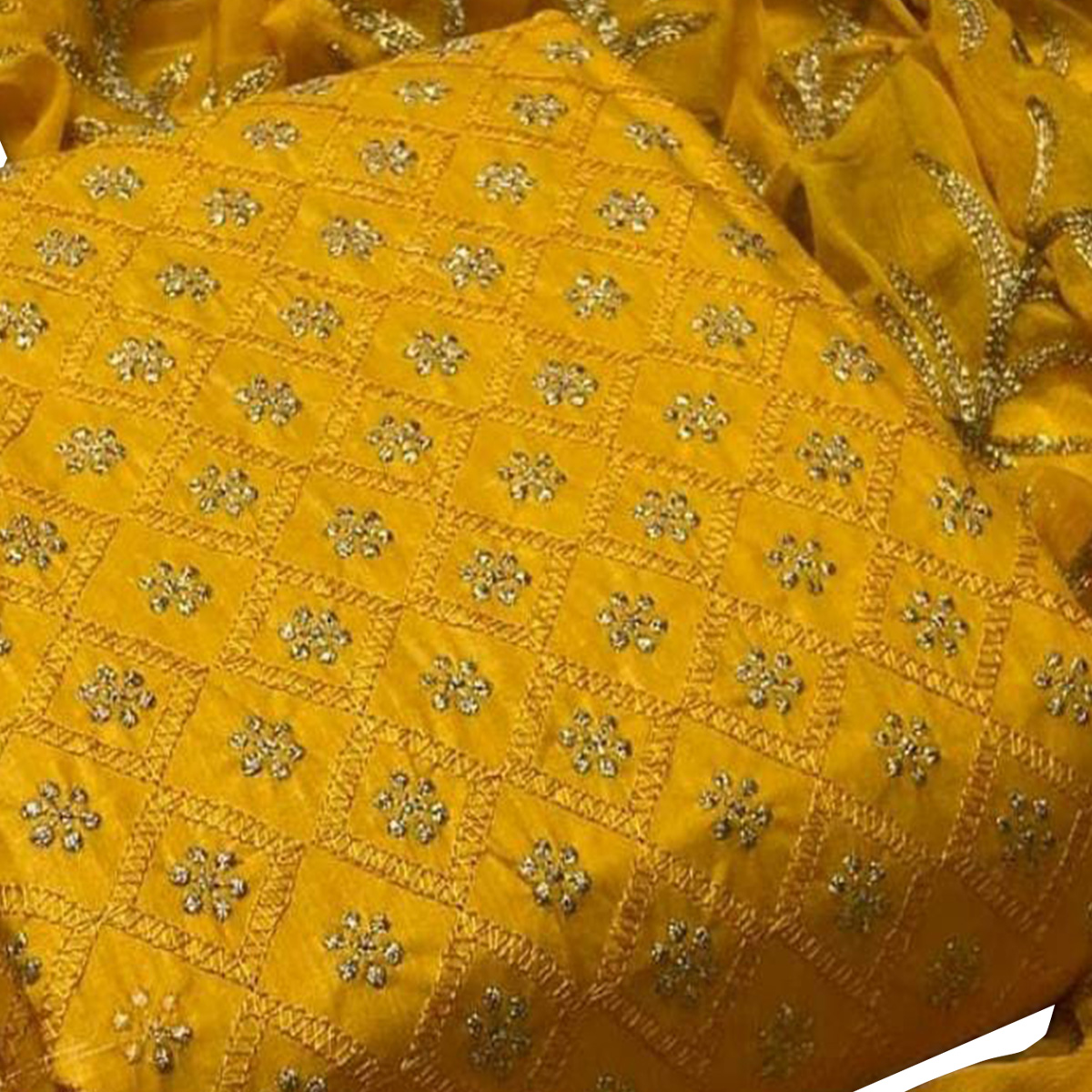 IRIS - Yellow Colored Partywear Embroidered Cotton Dress Material