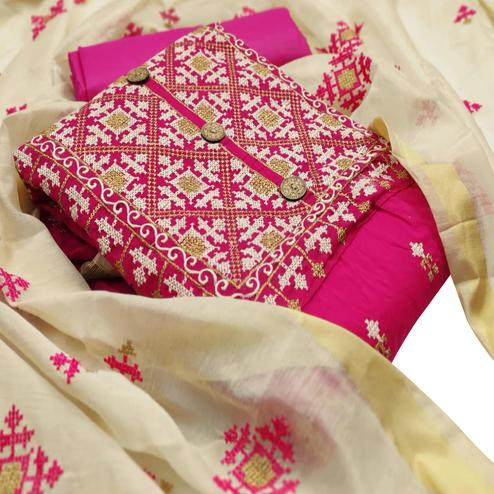 IRIS - Pink Colored Partywear Embroidered Chanderi Cotton Dress Material