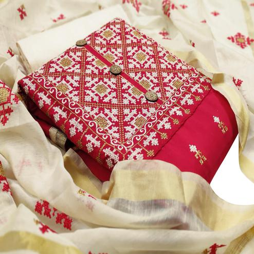 IRIS - Red Colored Partywear Embroidered Chanderi Cotton Dress Material