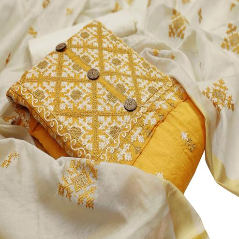 IRIS - Yellow Colored Partywear Embroidered Chanderi Cotton Dress Material