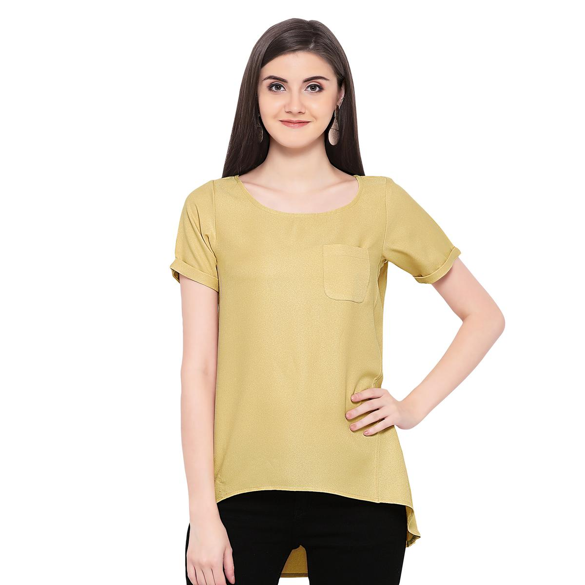 Solid Yellow High Low Casual Wear Moss Georgette Top