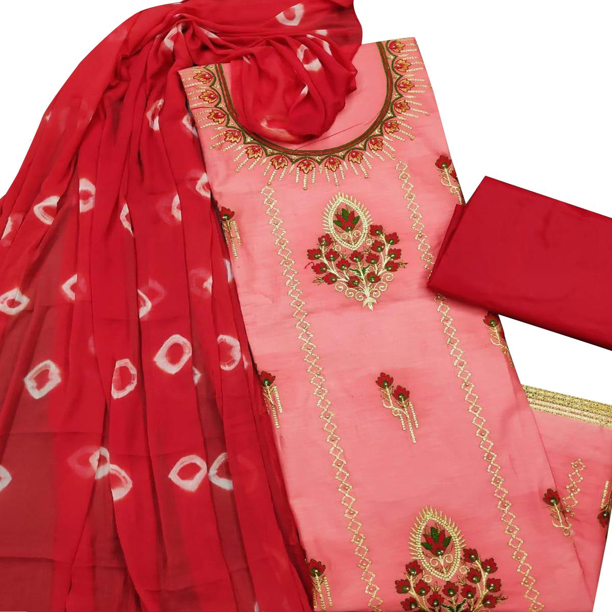 IRIS - Peach Colored Partywear Floral Embroidered Modal-Chanderi Cotton Dress Material