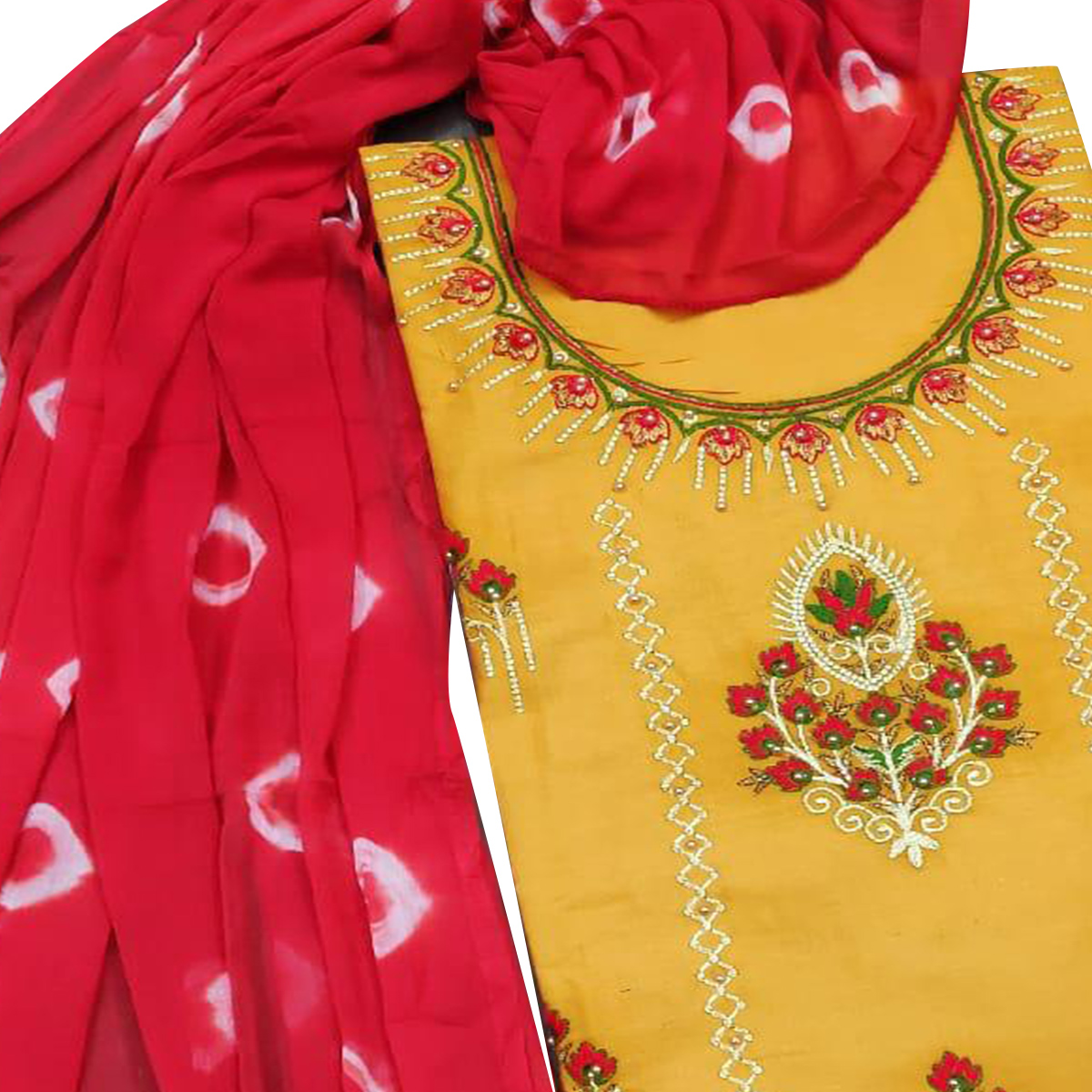 IRIS - Yellow Colored Partywear Floral Embroidered Modal-Chanderi Cotton Dress Material