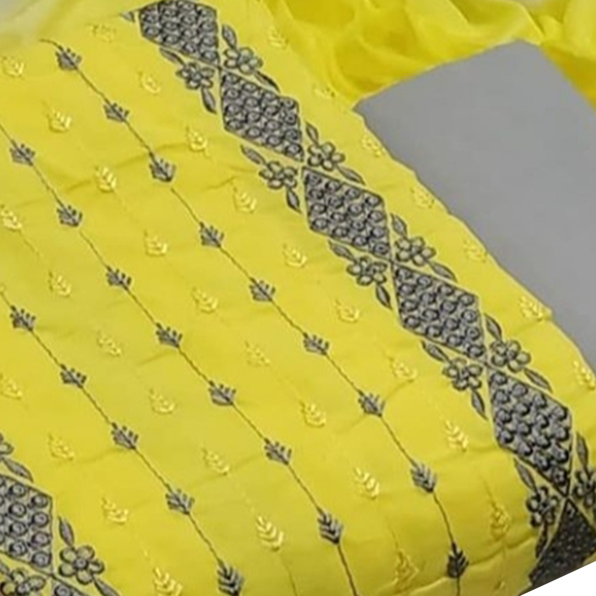 IRIS - Yellow Colored Partywear Kashmiri Embroidered Work Cotton Dress Material