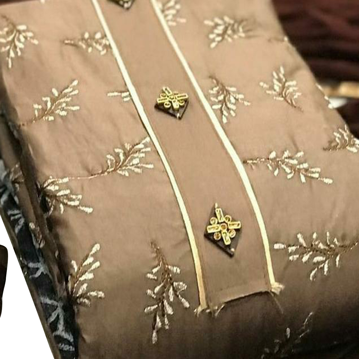 IRIS - Coffee Brown Colored Partywear Embroidered Chanderi Modal Dress Material