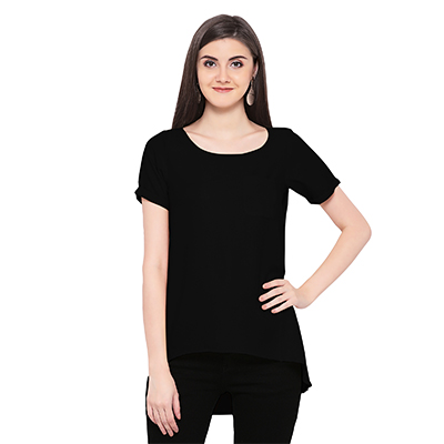 Solid Black High Low Casual Wear Moss Georgette Top