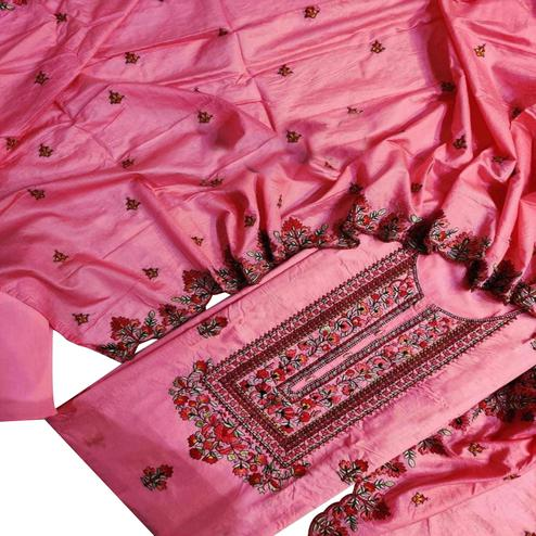 IRIS - Pink Colored Partywear Embroidered Modal Dress Material