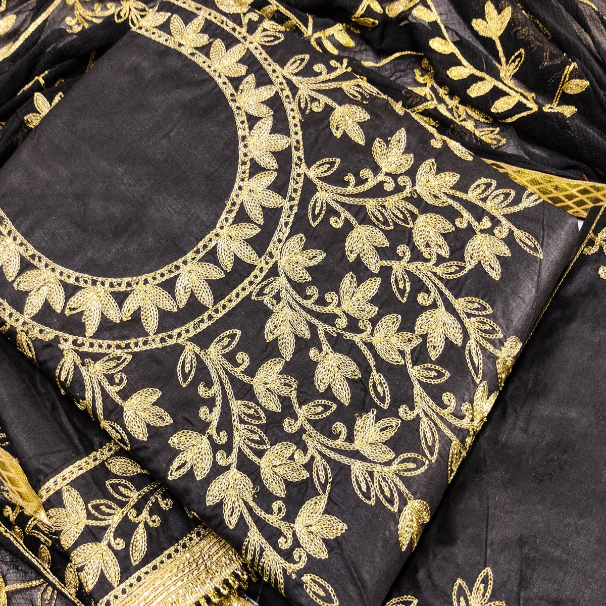 IRIS - Black Colored Partywear Embroidered Cotton Dress Material
